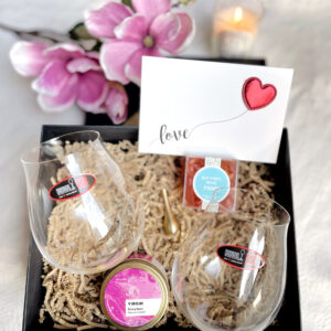 valentines gift with wine glasses, candle, sugafina